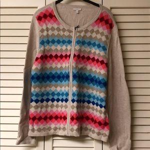 Multi colored zip cardigan